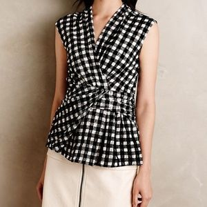 Anthro Deletta Delphine Faux Wrap Gingham Top NEW